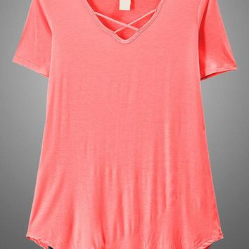 Coral Criss Cross Top