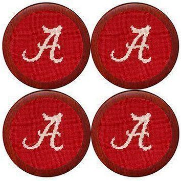 Alabama Needlepoint Coasters in Crimson by Smathers & Branson