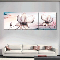 Unframed Modern Canvas Pictures for Living Room Flower Oil Painting Cuadros Decoration Poster Wall Art Print on Canvas 3 Pieces