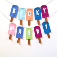 Custom name popsicle banner, colorful summer banner, you pick the colors!