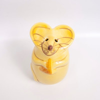 Vintage Mouse Parmesan Cheese Shaker N S Gustin Golden Yellow Glazed Ceramic Whimsical Mouse Cheese Dispenser