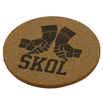 Vikings Skol Raised Horns Flagon Round Cork Coaster (Set of 4)