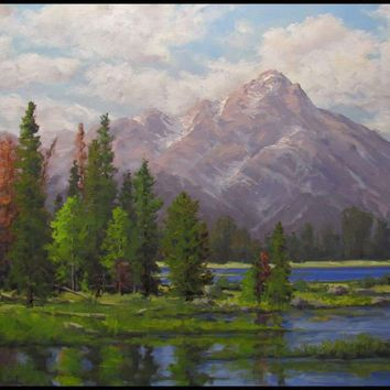 Jeff Love Art Original Oil Painting Large 24X36 Mountain Lake Western Landscape
