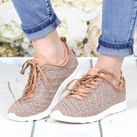 Not Rated: Dessa Metallic Knit Memory Foam Sneakers {Rose Gold}