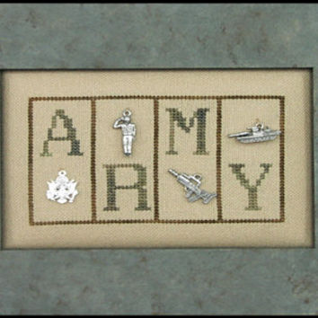 Army Cross Stitch Pattern - Hinzeit Mini Blocks Military counted cross stitch needlework pattern chart with charms