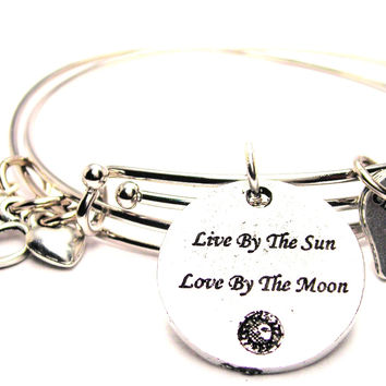 Live By The Sun Love By The Moon Expandable Bangle Bracelet Set