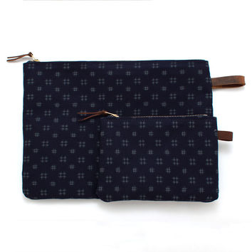 Japanese Indigo Hash Mark Print Carryall