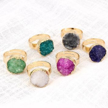 Dayoff European Druzy Druzy Stone Ring For Women Men Gold Color Irregular Round Nature Stone Adjustable Rings Woman Jewelry DR68