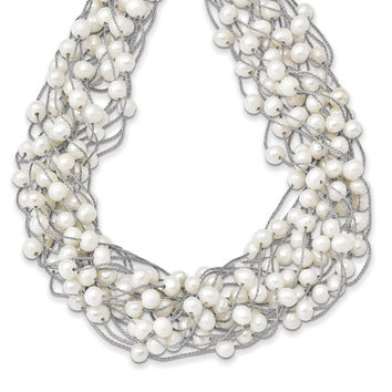 Sterling Silver RH 5.5-6.5mm White FWC Pearl Multi-strand Necklace QH5409