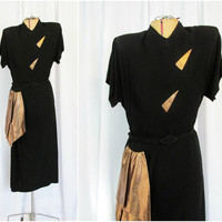 Vintage Dress: 40s Black Rayon with Copper Accents