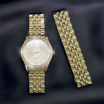 Men's Iced Out 14K Gold Finish Simulated Diamond Presidential Style Watch Bracelet Set