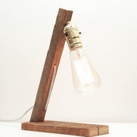Tobacco Stick Lamp- Rustic Lighting, Vintage Wood Lighting, Table Lamp, Exposed Edison Bulb