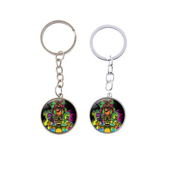 At  Sister Location  Freddy Bear Nightmare Springtrap Mangle Glass keychain pendant Cabochon Accessories