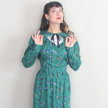 1980s LANZ Midi Dress | Vintage 80s NWT Green Fall Floral Dress with Peter Pan Collar | large