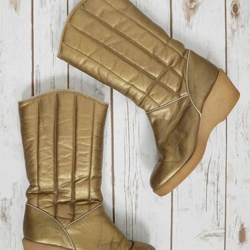 Vintage 1970s Metallic Gold + Quilted Wedge Boots // 9