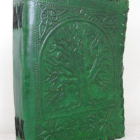 Celtic Tree of Life Journal Embossed Pure Genuine Leather Bound Personal Blank Diary/Journal/Notebook/Artist Sketchbook With Lock Green
