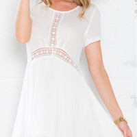 White Short Sleeve Lace Insert Mini Dress