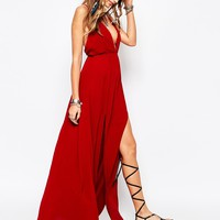 Missguided Plunge Maxi Dress With Thigh Split