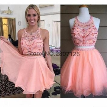 2017 Cocktail Dresses O Neck Beaded Rhinestones Off The Shoulder Short Wedding Party Dress Bride Gowns Robe De Cocktail