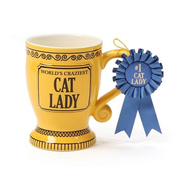 """Our Name is Mud """"World's Craziest Cat Lady"""" Blue Ribbon Trophy Stoneware Coffee Mug, 16 oz."""