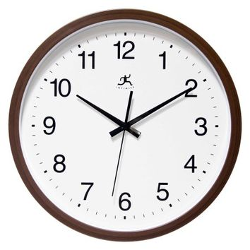 Infinity Instruments 14 Walnut Finish 14W x 14H in. Wall Clock - Walmart.com