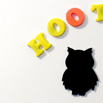 Owl Fridge Magnet Chalkboard Woodland Owl for the by mintmoose