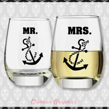 Mr. and Mrs. Anchor Wedding Gift Set || Stemless Wine Glasses Set of 2