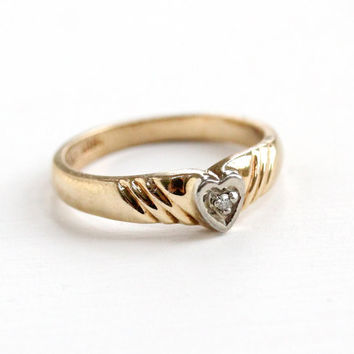 Vintage 10k Yellow & White Gold Diamond Heart Ring - 1950s Size 1 3/4 Pinky Midi Baby Two Tone Valentine's Day Fine Jewelry
