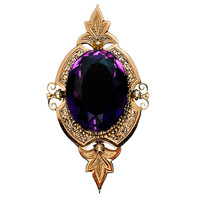Victorian Amethyst Rose Gold Pendant