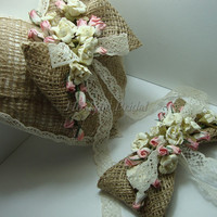 Burlap Ring Pillow with Headpiece