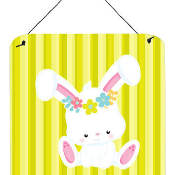 Easter White Rabbit with Flowers Wall or Door Hanging Prints BB7093DS66