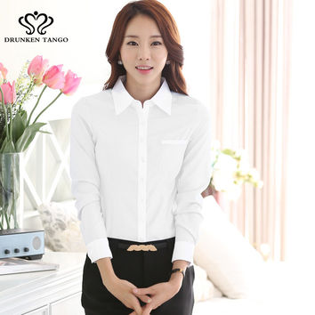 2016 New fashion White Shirt Women work wear Long Sleeve Tops Slim Women's Blouses Shirts plus sie S-4XL