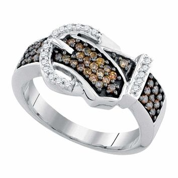 10kt White Gold Women's Round Brown Color Enhanced Diamond Belt Buckle Band Ring 1-2 Cttw - FREE Shipping (US/CAN)