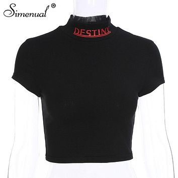Simenual Letter print casual t shirts women short sleeve crop top half turtleneck sexy slim