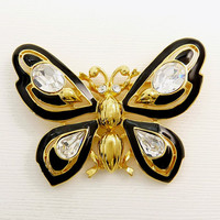 Trifari TM  Butterfly Brooch Black Enamel & Rhinestone Brooch