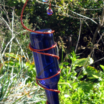 Hummingbird Feeder with Recycled Cobalt Blue Glass Bottle & Copper Wrapped Glass Marbles
