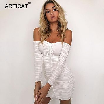 Articat Women Winter Bandage Dress Women Sexy Off Shoulder Long Sleeve Slim Elastic Bodycon Party Dresses Vestidos