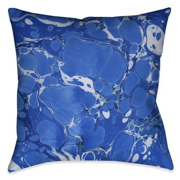 Ocean Blue I Marble Decorative Pillow