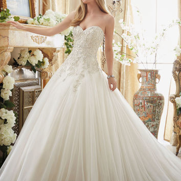 Beaded Embroidery on Tulle Cinderella Ball Gown | Style 2892 | Morilee
