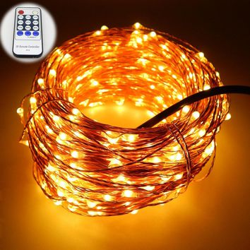 165Ft 50m 500 Leds 8 Colors Copper Wire LED String Lights Starry Lights Christmas Fairy lights+12V Power Adapter+Remote Control