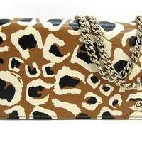 Gucci Leopard Print Leather Chain Cross Body Clutch Bag 354697