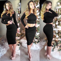 Black Long Sleeve Cropped Top and High Waisted Pencil Skirt