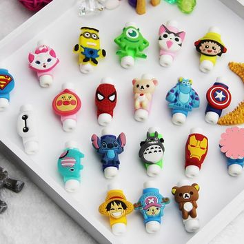 20Pcs Fashion Cute Cartoon USB Cable Protector Cover Case For Apple Iphone 5 5s 6 6s Charger Data Cable Earphone cable winder