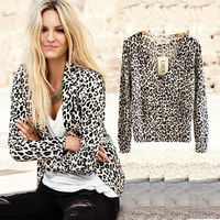 2016 New Women's Spring And Autumn Fashion Sexy Leopard Cardigan Sweater Slim Knitted Cardigan Jacket Outerwear WS-015