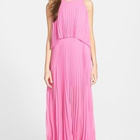 Women's BCBGMAXAZRIA 'Shaina' Pleated Georgette Popover Gown,