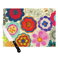 "Louise Machado ""Charming Floral"" Floral Multicolor Cutting Board"