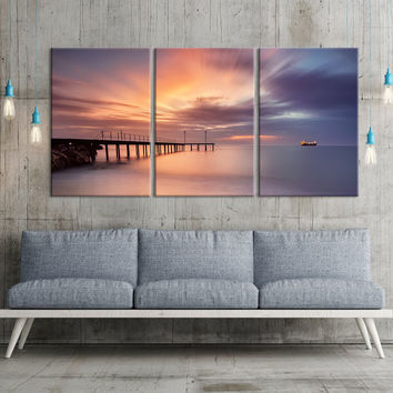 Extra LARGE Wall ART Canvas Print Sunset and Wood Pier in Sea, 3 Panel Seascape Canvas Print, Triptych Art Red Sunset Large Wall Art Print