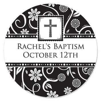 Modern Floral Black & White Cross - Personalized Baptism Sticker Labels - 24 ct