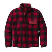 Patagonia Men's Lightweight Synchilla® Recycled Fleece Snap-T® Pullover | Fuzzy Plaid: Wax Red