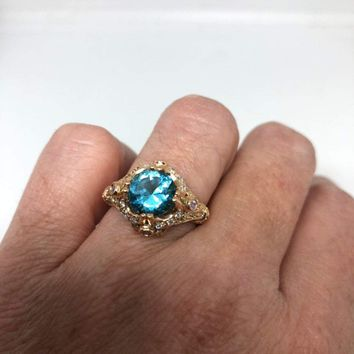 Vintage geniune blue topaz and white sapphire Rose Gold 925 sterling silver Ring